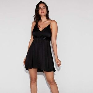 Express Satin Black Fit And Flare Babydoll Dress